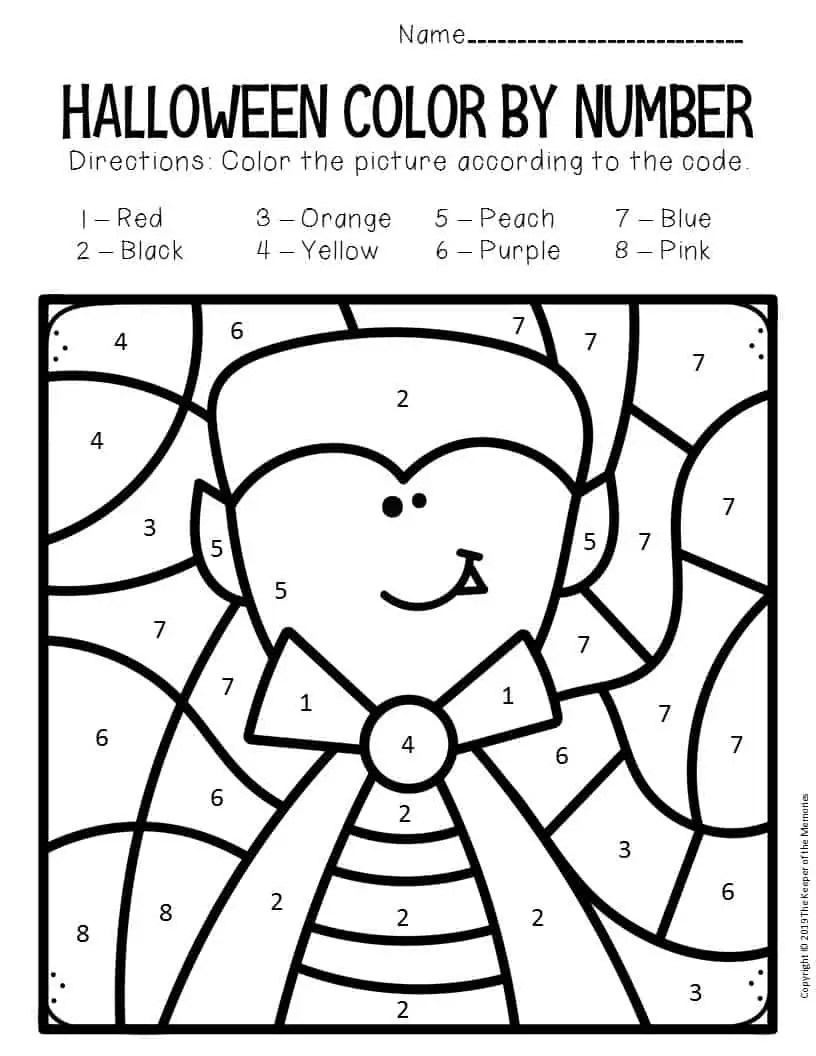 Vampire Color by Number Halloween Preschool Worksheets