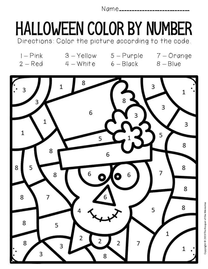 Skeleton Color by Number Halloween Preschool Worksheets