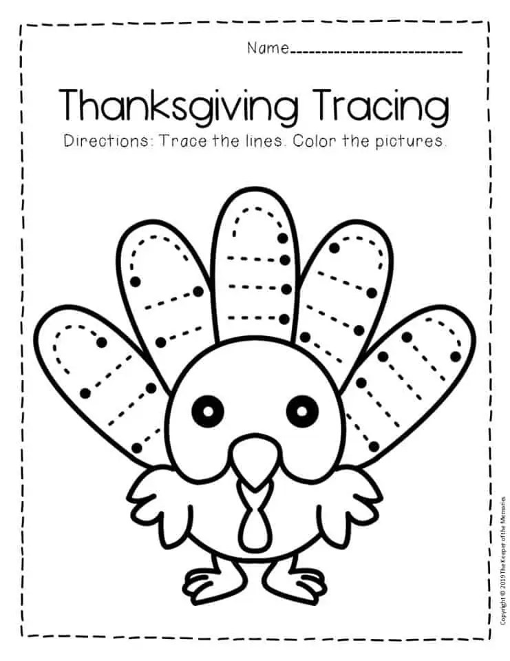 Free Printable Tracing Thanksgiving Preschool Worksheets 4