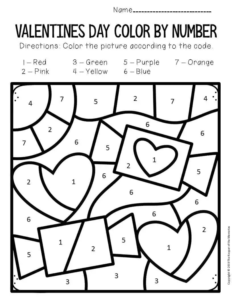 Color by Number Valentine's Day Preschool Worksheets Candy