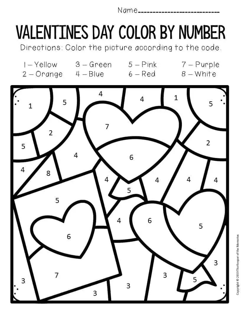 Color by Number Valentine's Day Preschool Worksheets Card