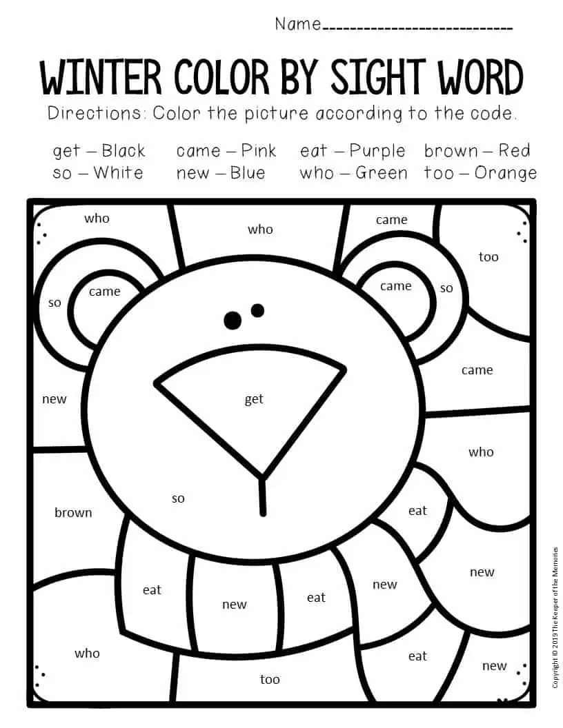 hight resolution of Color by Sight Word Kindergarten Worksheets Polar Bear - The Keeper of the  Memories