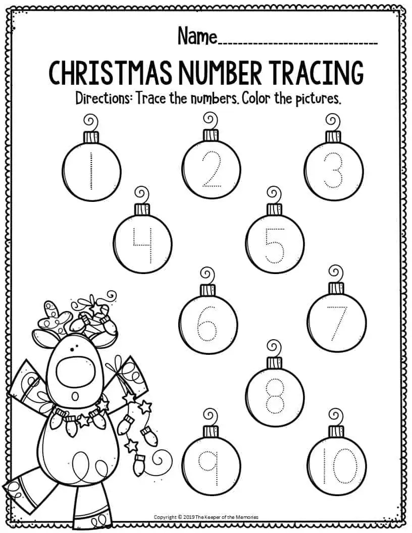 Printable Math Christmas Preschool Worksheets Christmas
