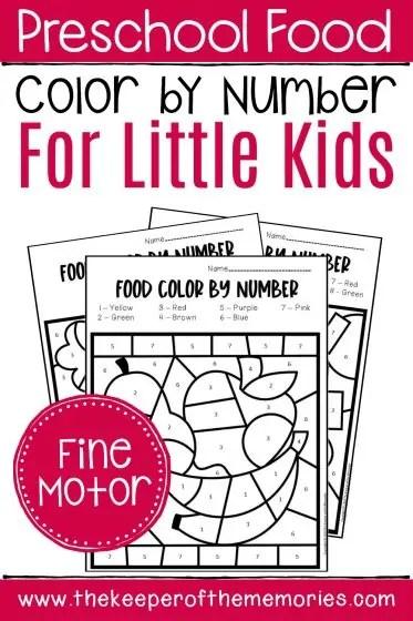 Free Printable Color By Number Food Preschool Worksheets