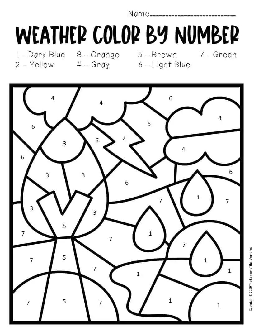 Color by Number Weather Preschool Worksheets Thunderstorm