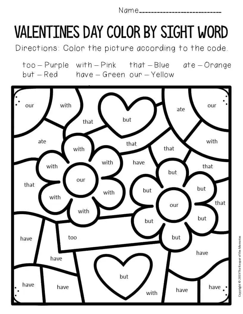 Color by Sight Word Valentine's Day Kindergarten