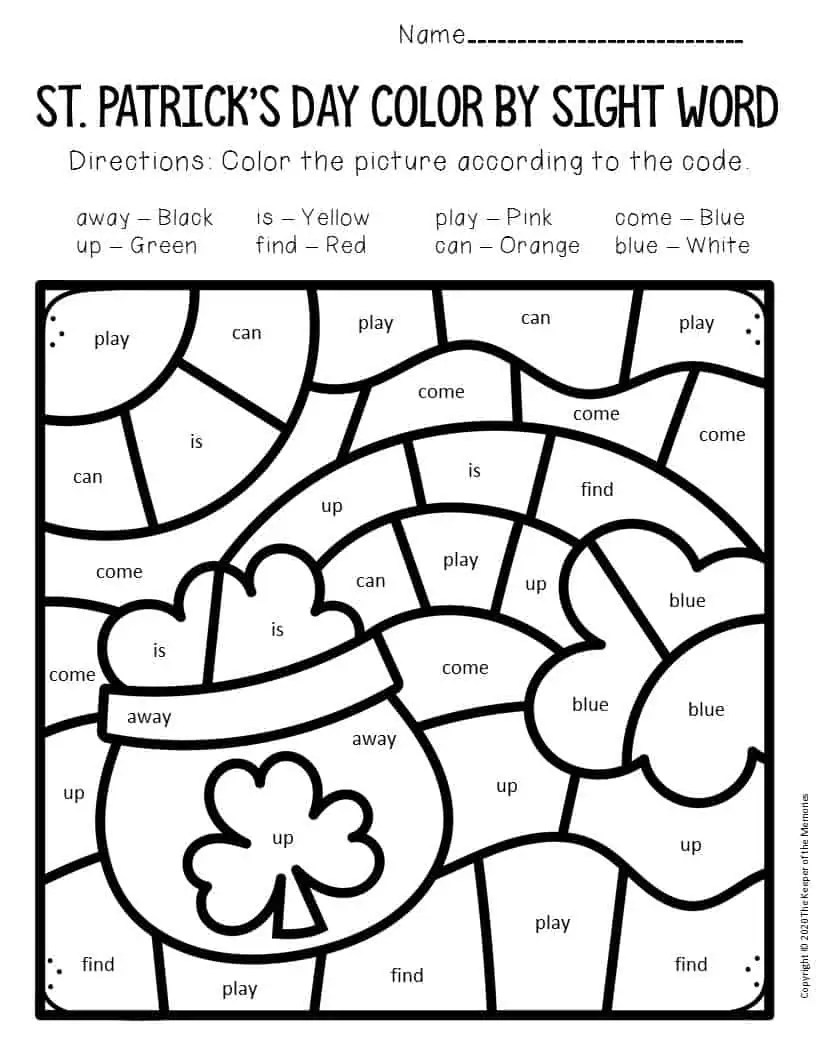 Color by Sight Word St. Patrick's Day Preschool Worksheets