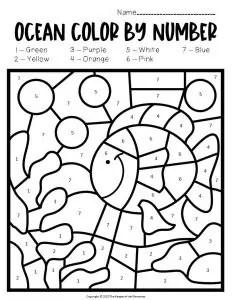 Free Printable Color by Number Ocean Preschool Worksheets