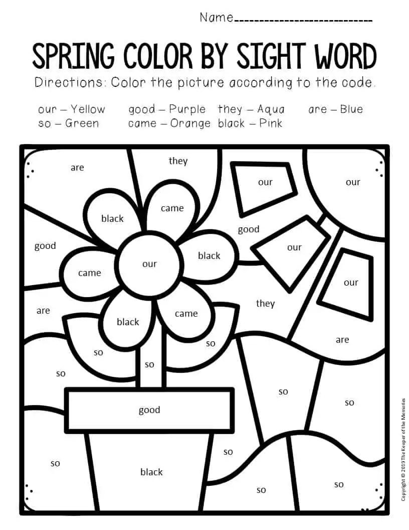 Color by Sight Word Spring Kindergarten Worksheets Flowers