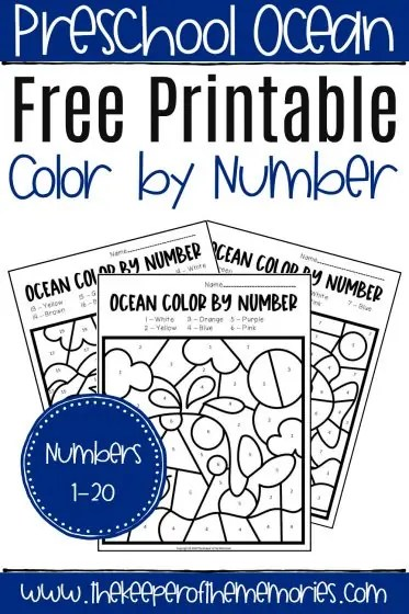 Free Printable Color By Number Ocean Preschool Worksheets The Keeper Of The Memories