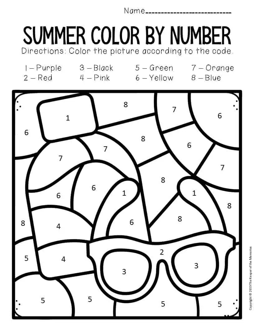 Color by Number Summer Preschool Worksheets Sunglasses and