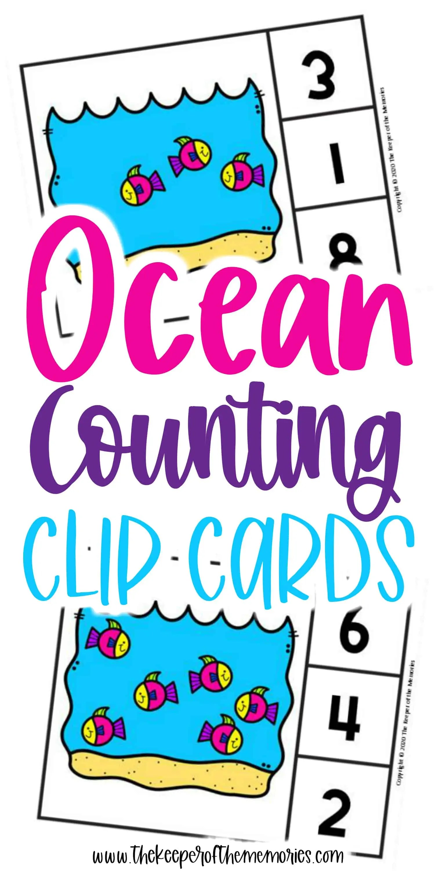 Free Printable Ocean Counting Clip Cards