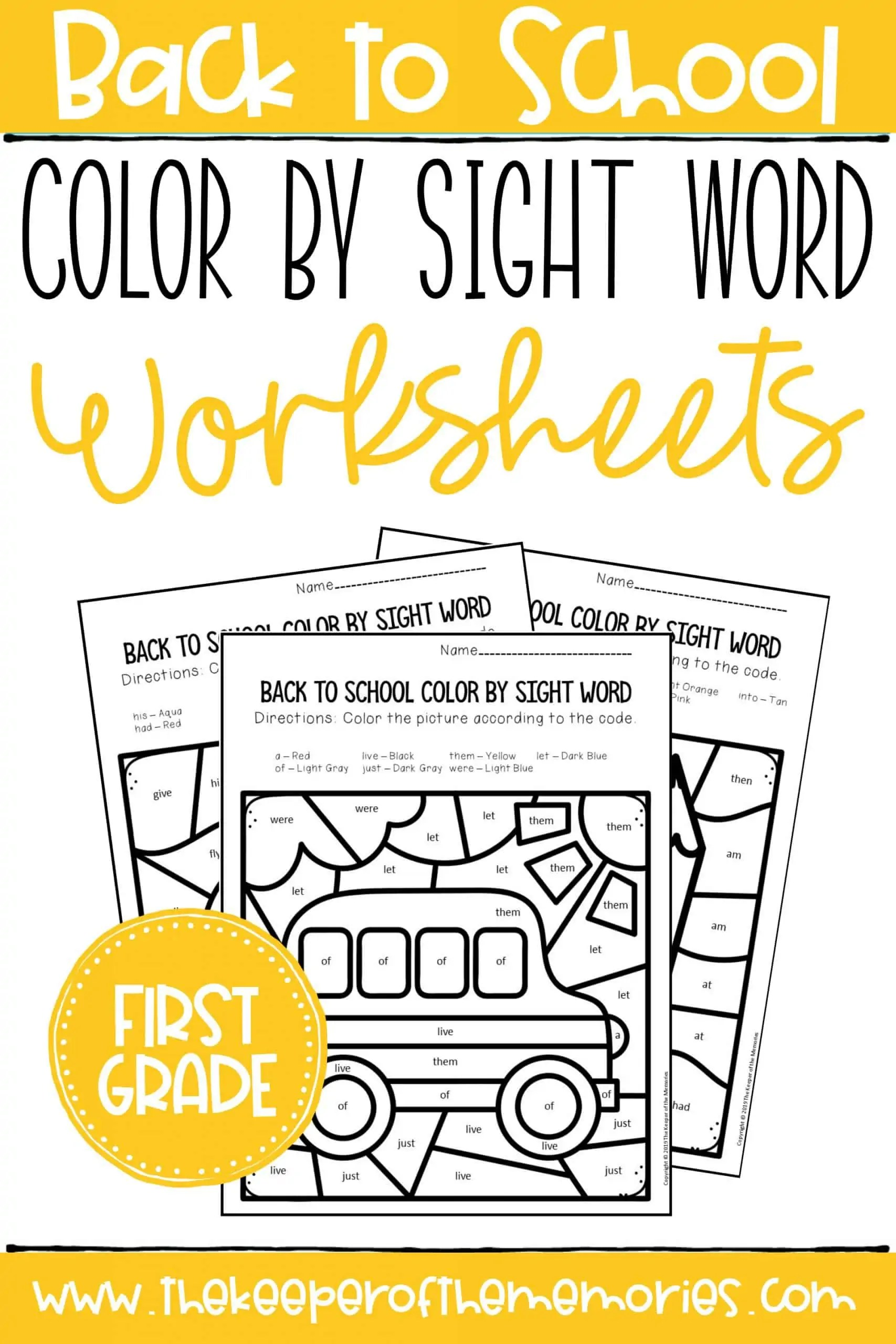 hight resolution of Color by Sight Word Back to School First Grade Worksheets