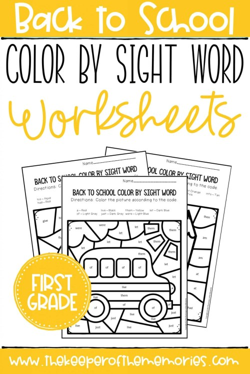 small resolution of Color by Sight Word Back to School First Grade Worksheets