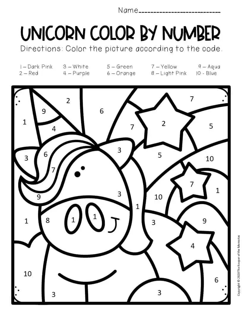 Free Color by Number Unicorn Printables Unicorn with
