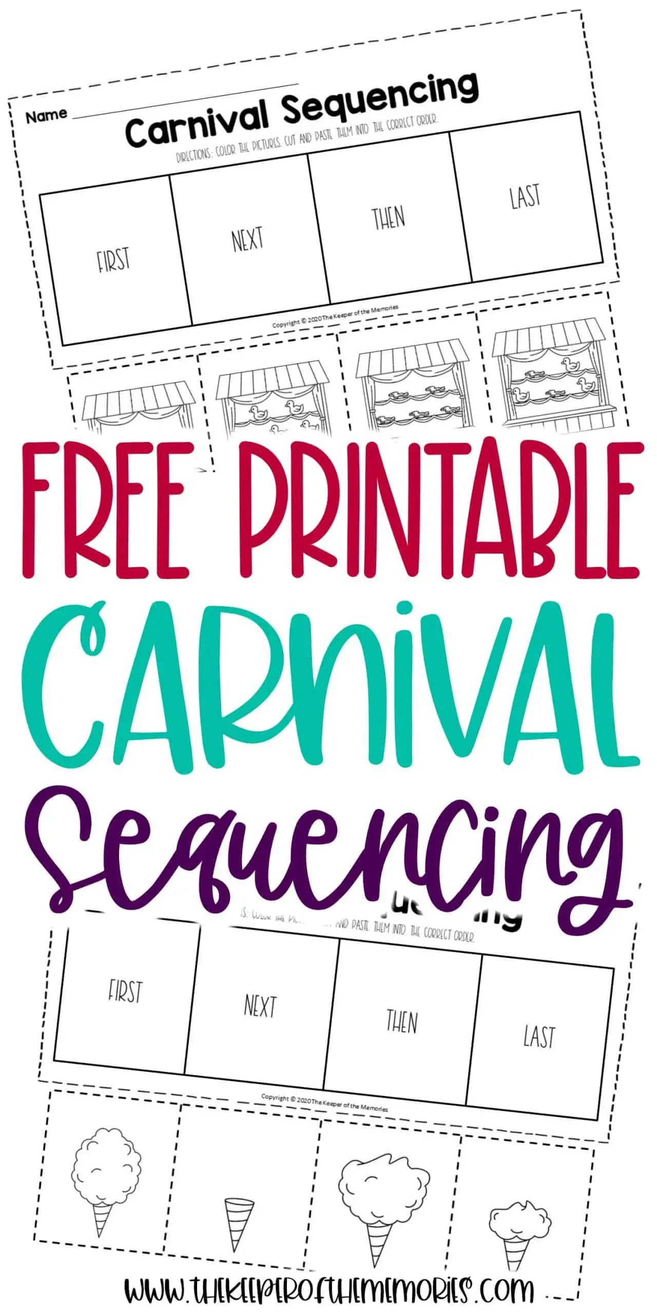Free Printable Carnival Sequencing Worksheets
