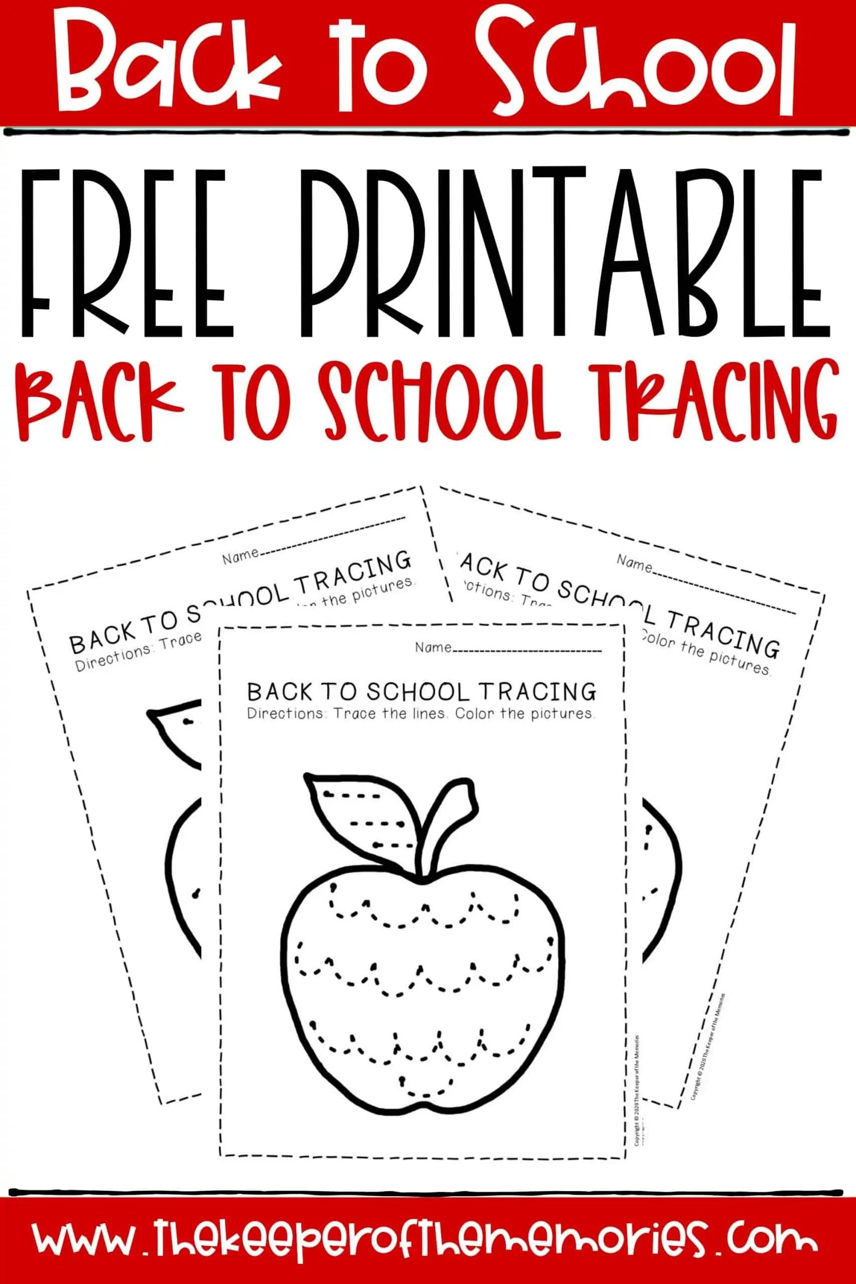 Free Printable Tracing Back To School Preschool Worksheets