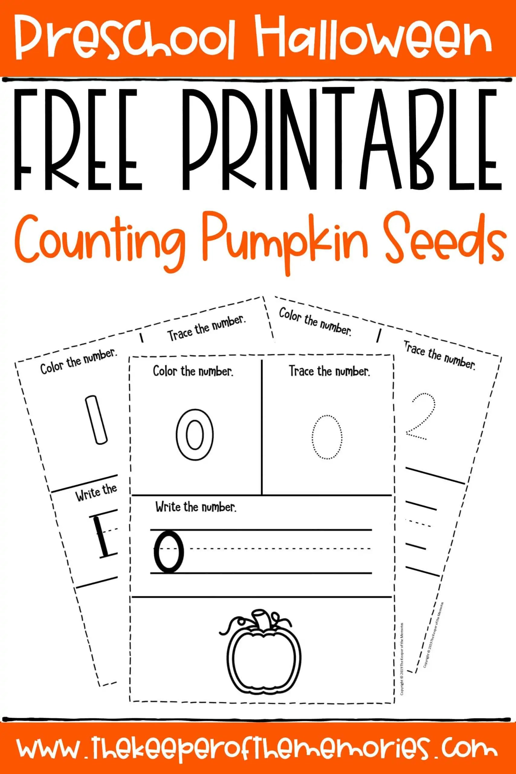 Free Printable Counting Pumpkin Seeds Halloween Preschool