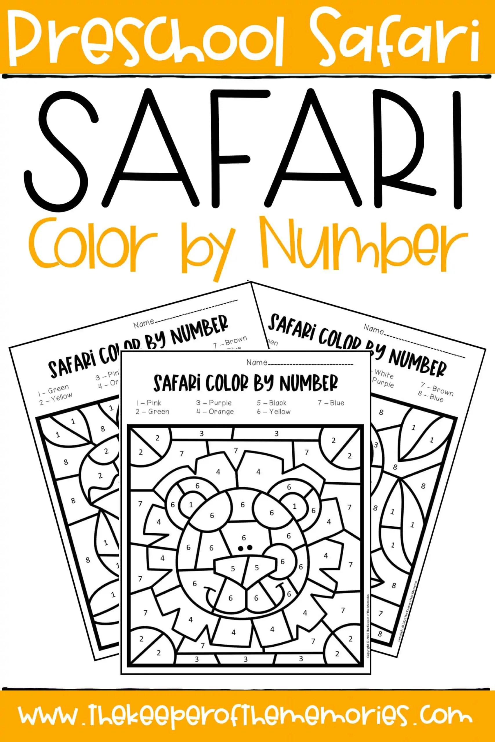 Safari Color By Number Preschool Worksheets