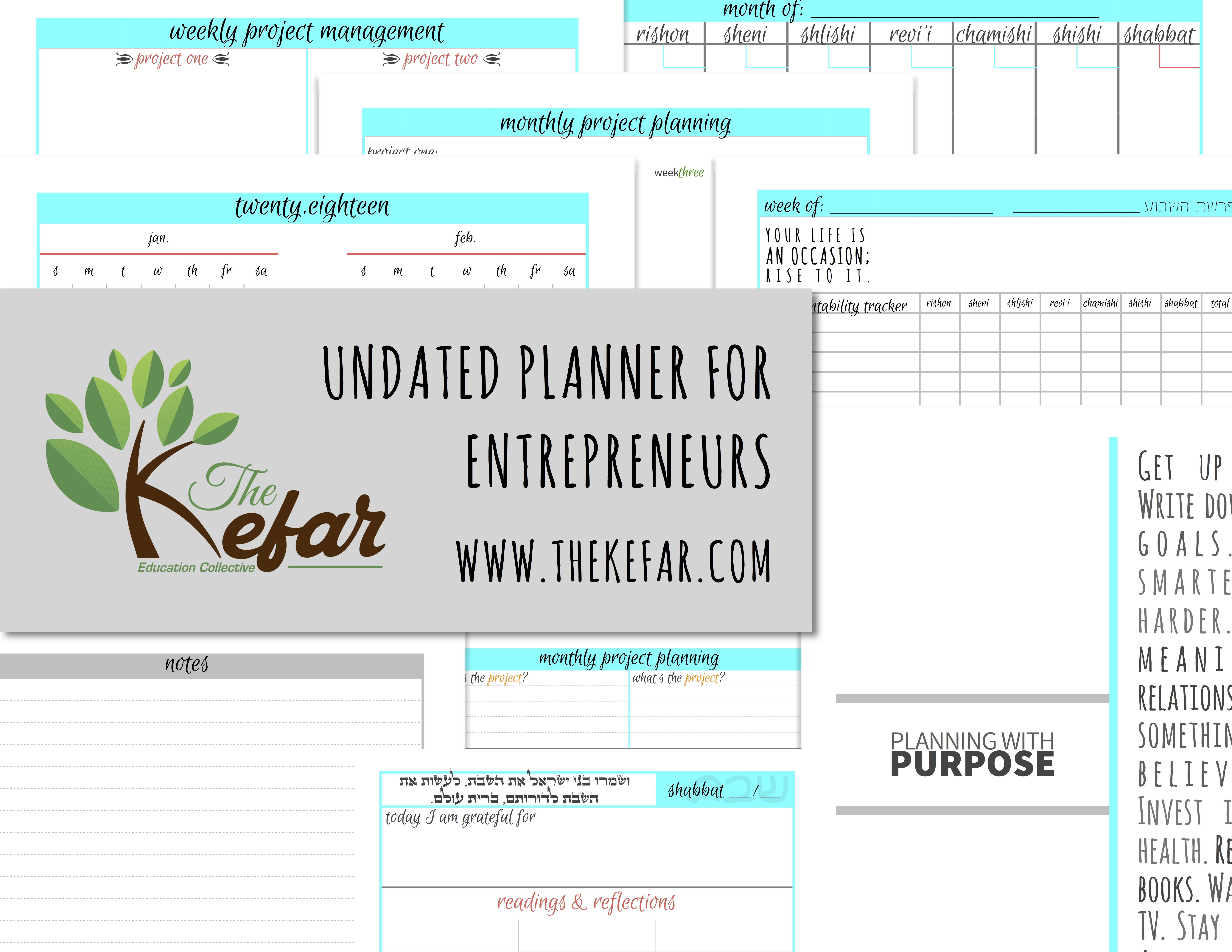 Planning With Purpose - Undated Planner for Entrepreneurs