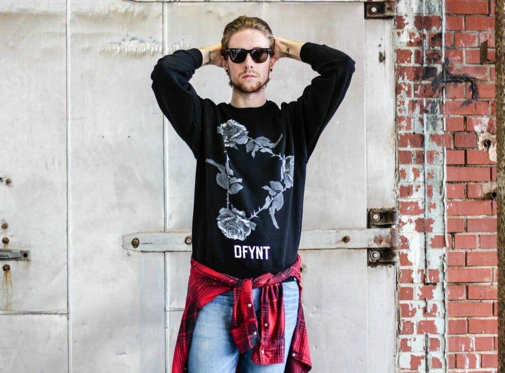 The Kentucky Gent in DFYNT Sweatshirt, JACHS Plaid Shirt, WeSC Jeans, Steve Madden Troopah2 Boots, and Ray-Ban Wayfarers