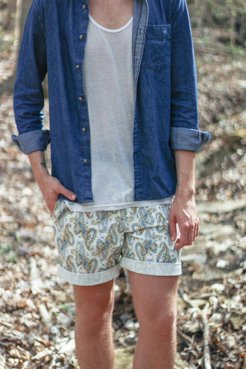The Kentucky Gent in H&M Denim Shirt, American Apparel Tank Top, Kennington Paisley Shorts, Converse Chuck Taylors, Hammock and Palms Sunglasses
