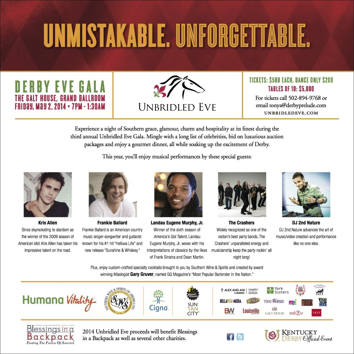 The Kentucky Gent for Unbridled Eve Derby Gala at Galt House Hotel in Louisville, Kentucky