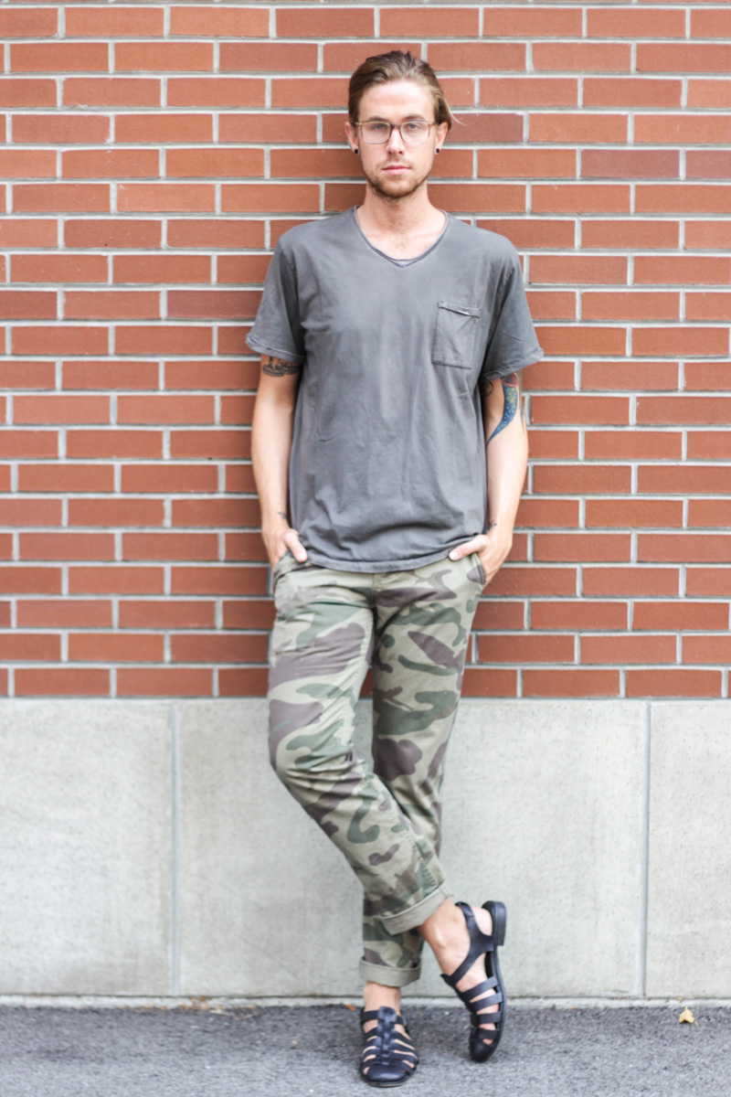 The Kentucky Gent in Original Penguin Glasses, Jeremiah Clothing T-Shirt, Camo Pants, and Zara Sandals.