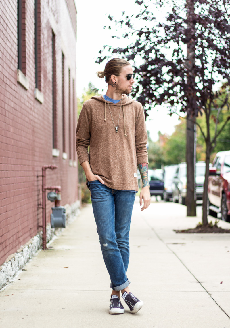 The Kentucky Gent, a men's fashion and lifestyle blogger, in Katin Sock Hoodie, Levi's 511 Jeans, Half United Necklace, Converse Chuck Taylors, and Ray-Ban Aviator Sunglasses.