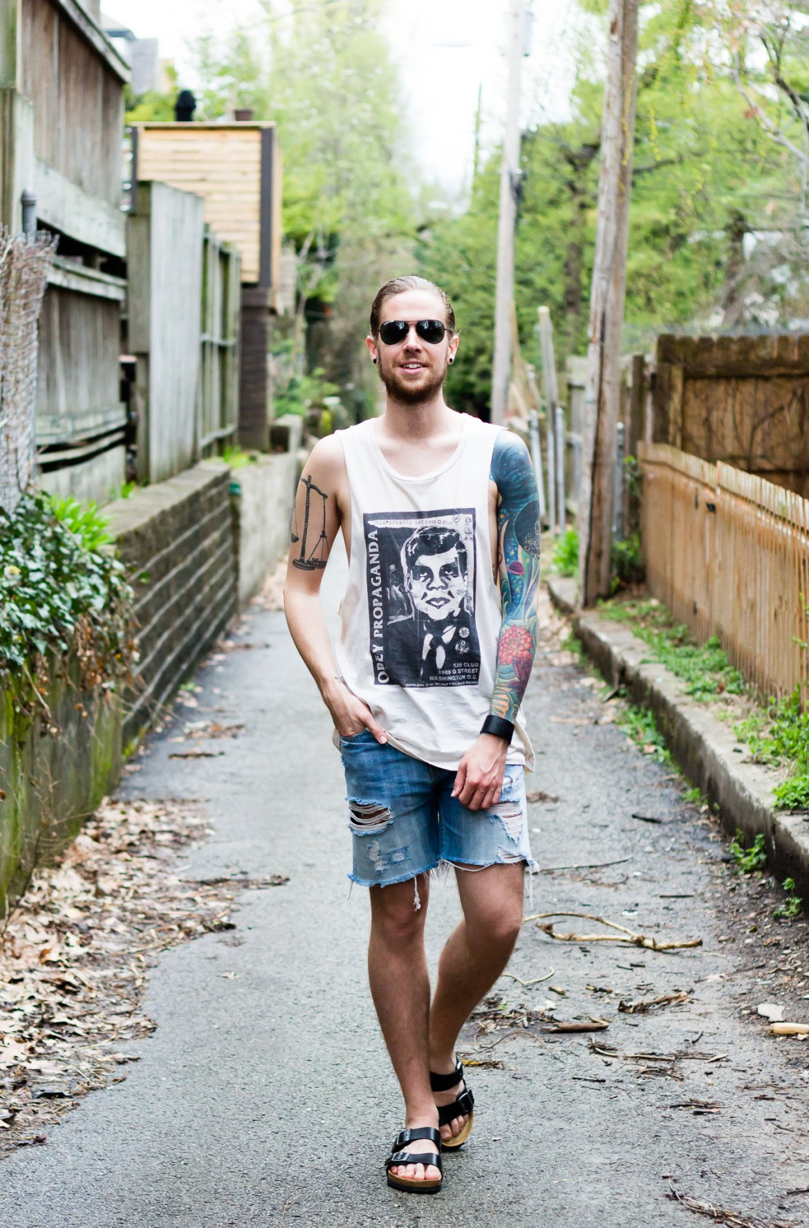Obey Tank and Levi's Denim Shorts on The Kentucky Gent