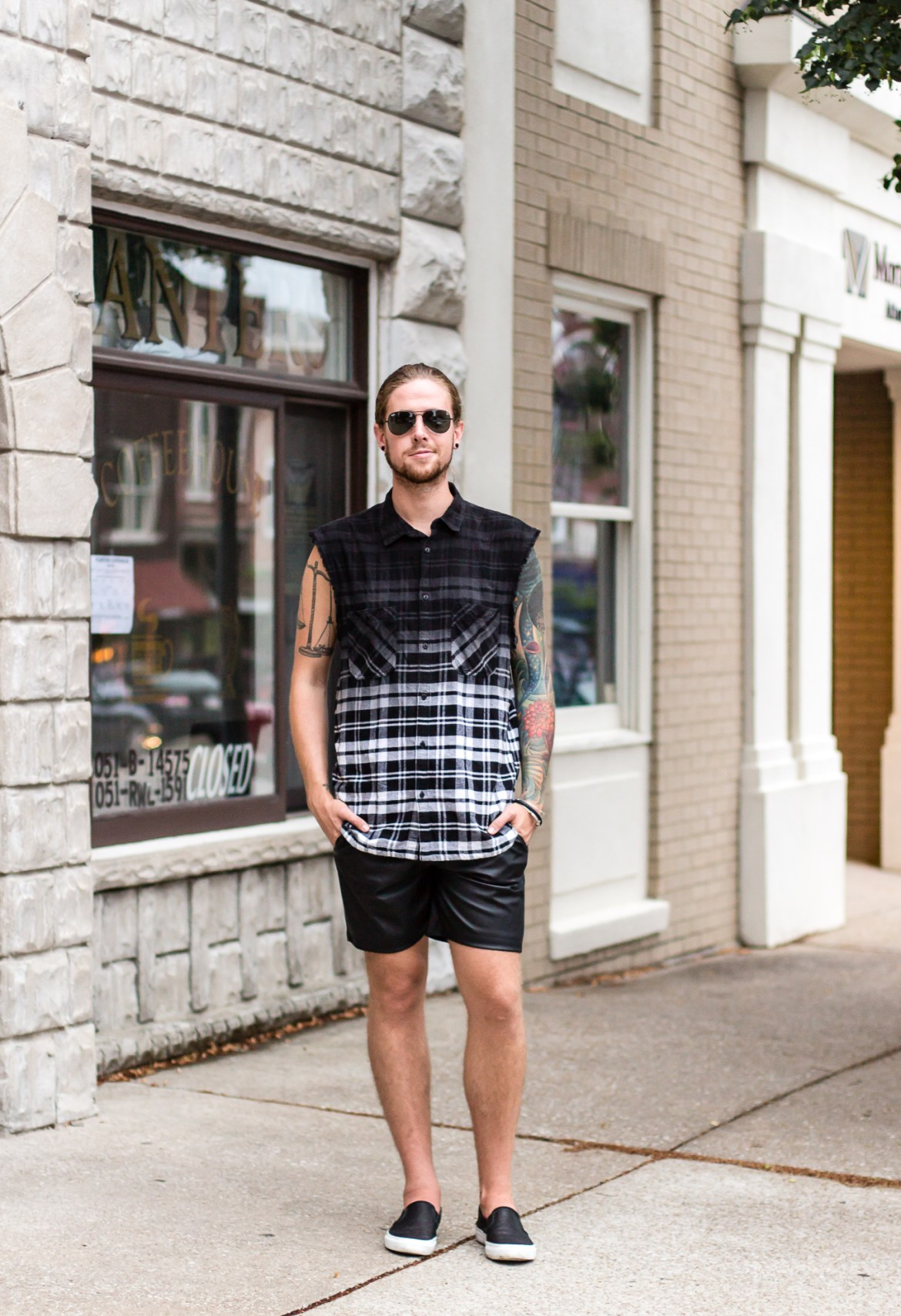 topman, hm, faux leather, sleeveless plaid, mens fashion