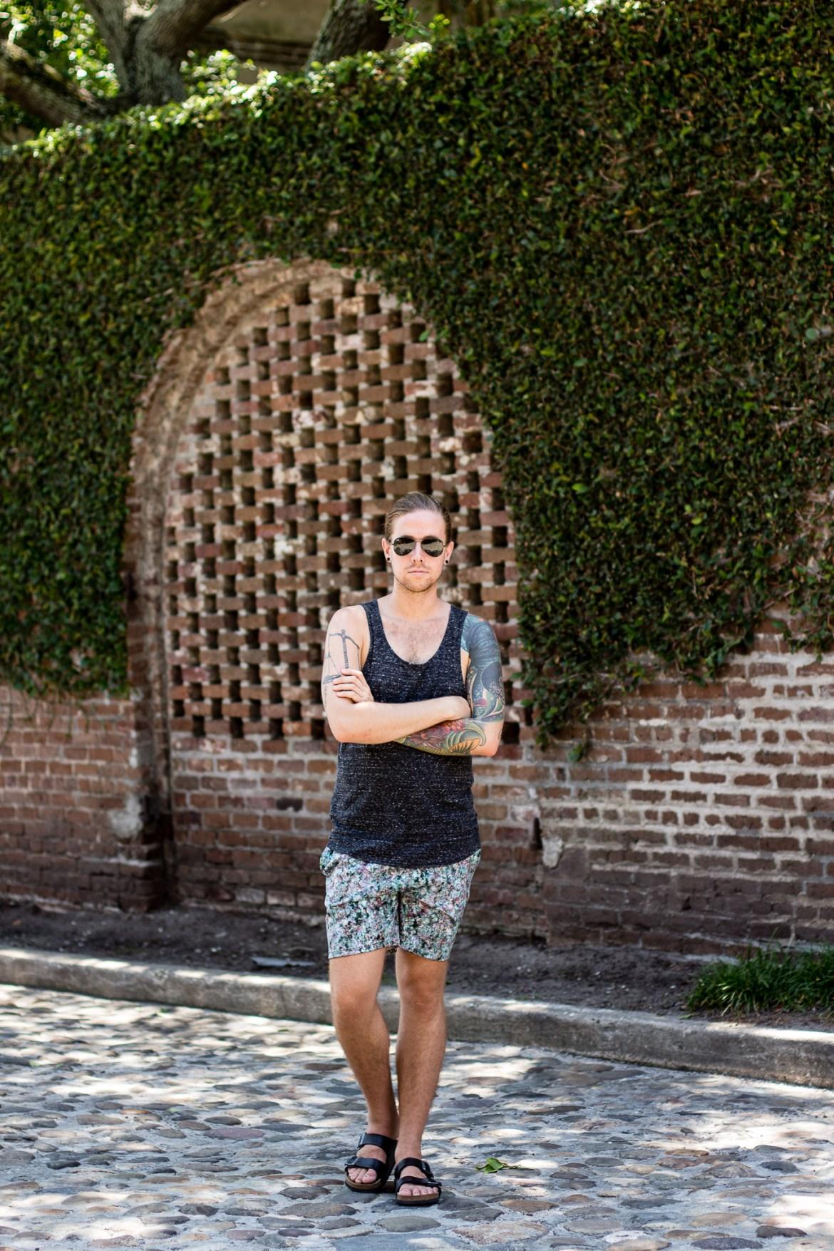 hm mens tank top, topman shorts, summer mens fashion, mens birkenstock sandals, rainbow row charleston