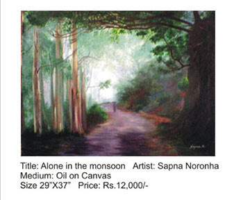 Alone in the monsoon painting by Sapna Noronha