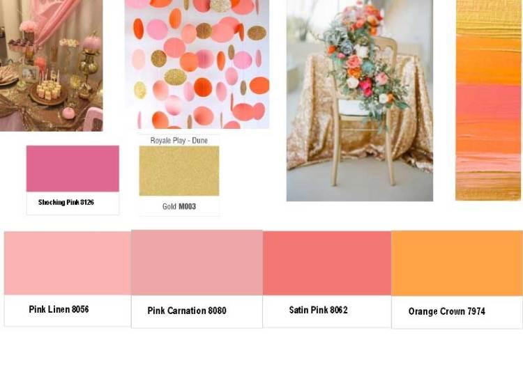 Blush Pinks, Shy Orange and Gold