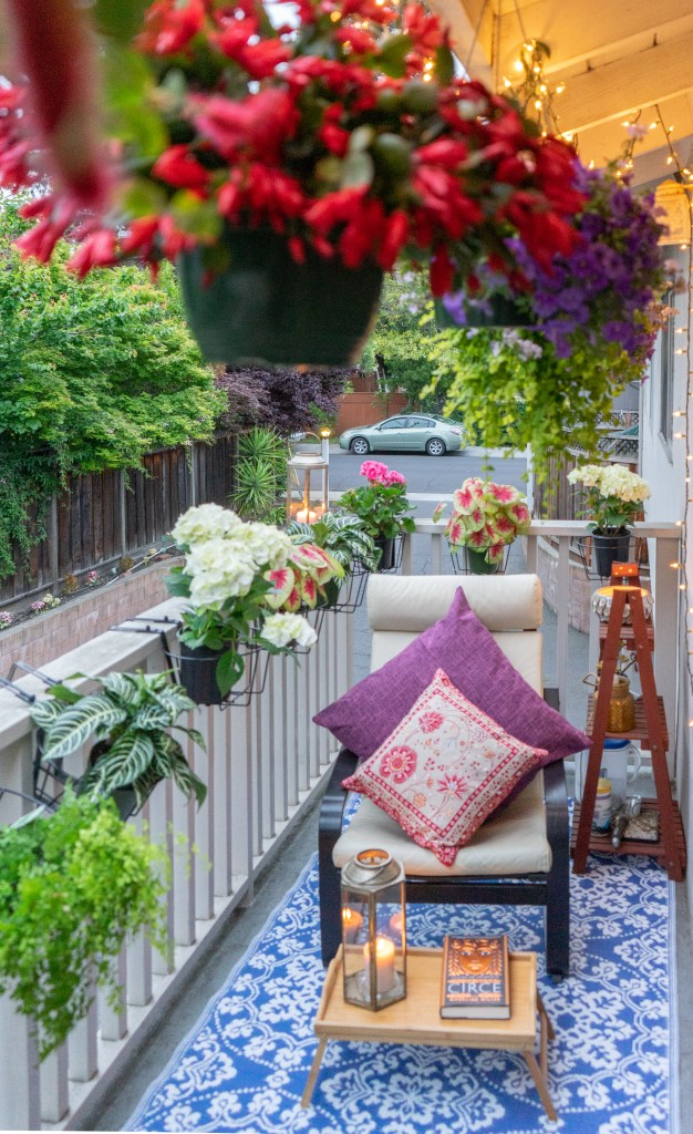 Affinity for antiques home tour of Rushika & Dipkal's - Love the lushness and the beauty of balcony garden