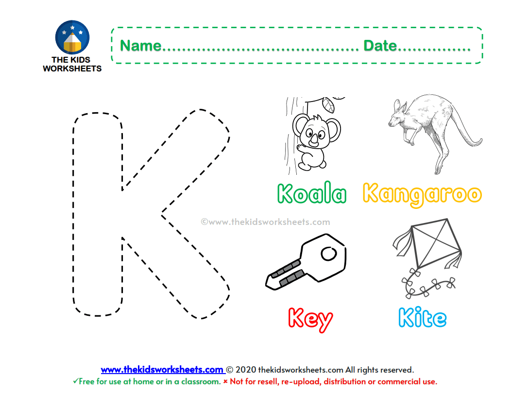 Letter K Color Worksheet The Kids Worksheets
