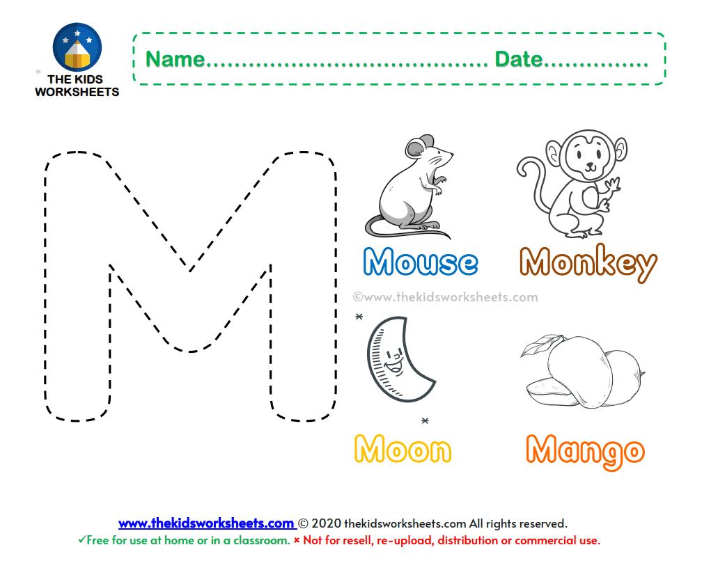 Letter M Color Worksheet The Kids Worksheets