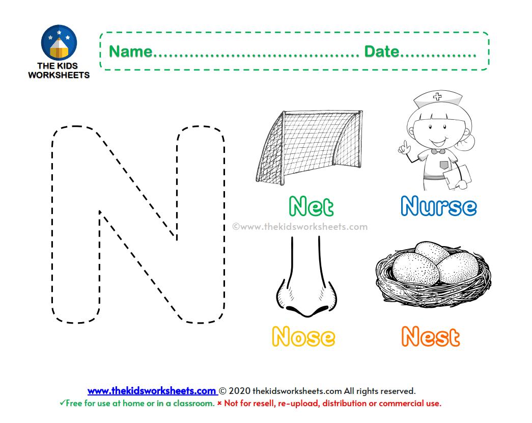 Letter N Color Worksheet The Kids Worksheets