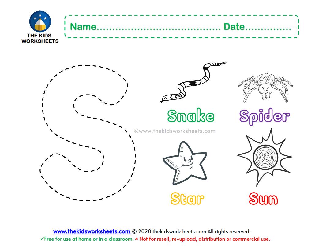 Letter S Color Worksheet The Kids Worksheets