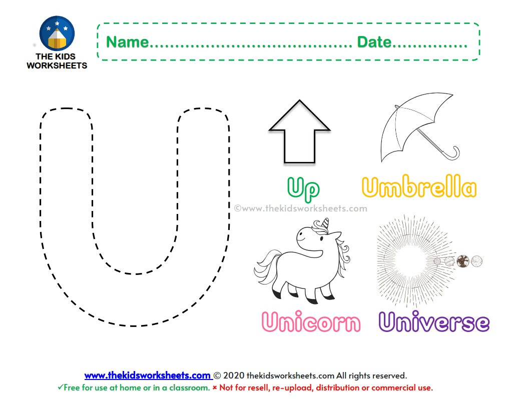 Letter U Color Worksheet The Kids Worksheets