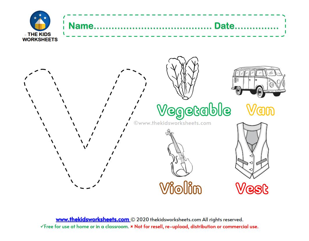 Letter V Color Worksheet The Kids Worksheets