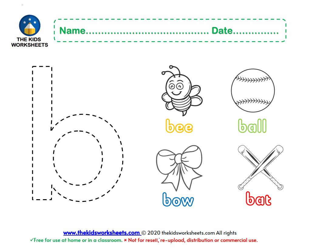 Lower Case B Color Worksheets The Kids Worksheets