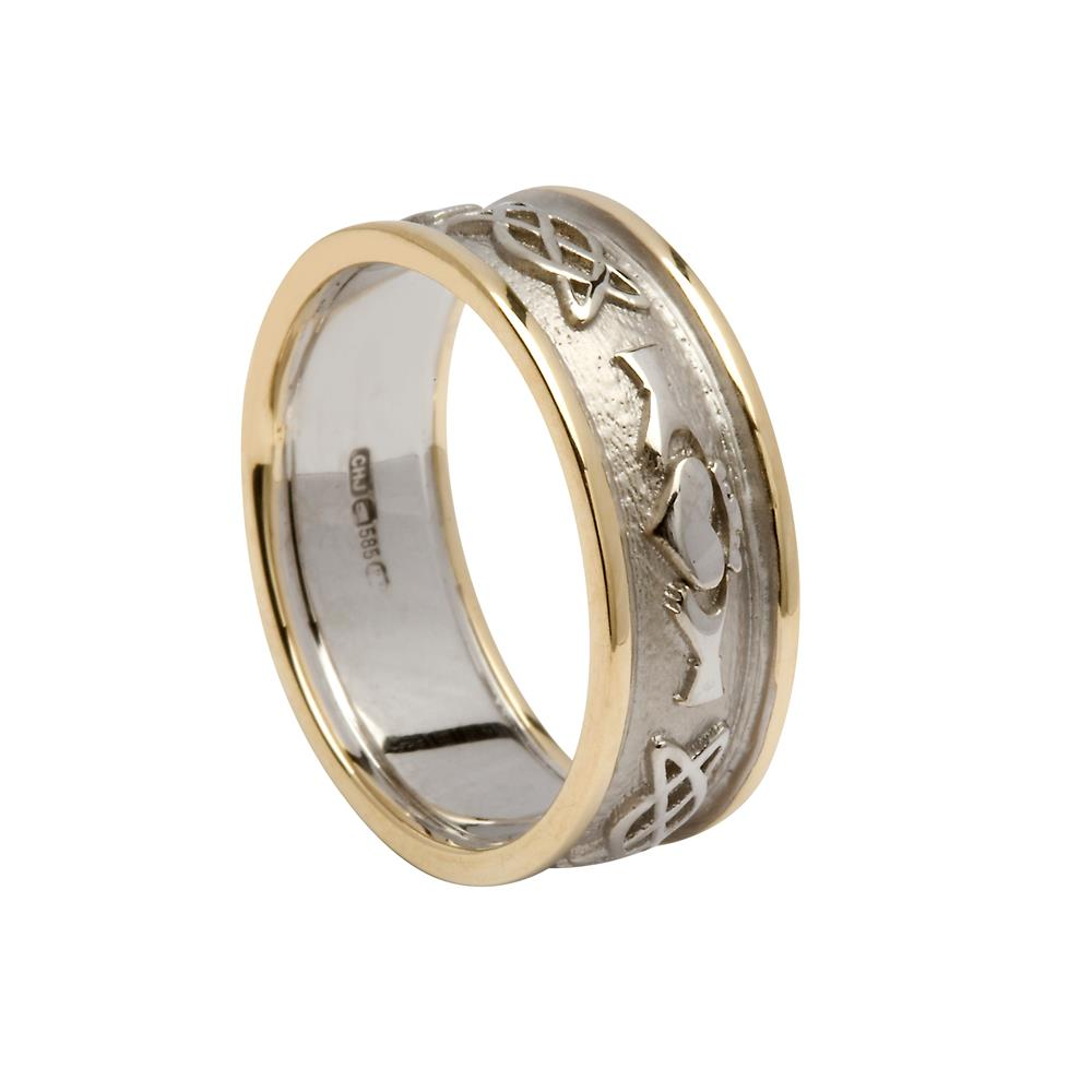 Celtic Knot Wedding Bands.Gents Claddagh Celtic Knot Wedding Ring White Centre With Yellow Trim