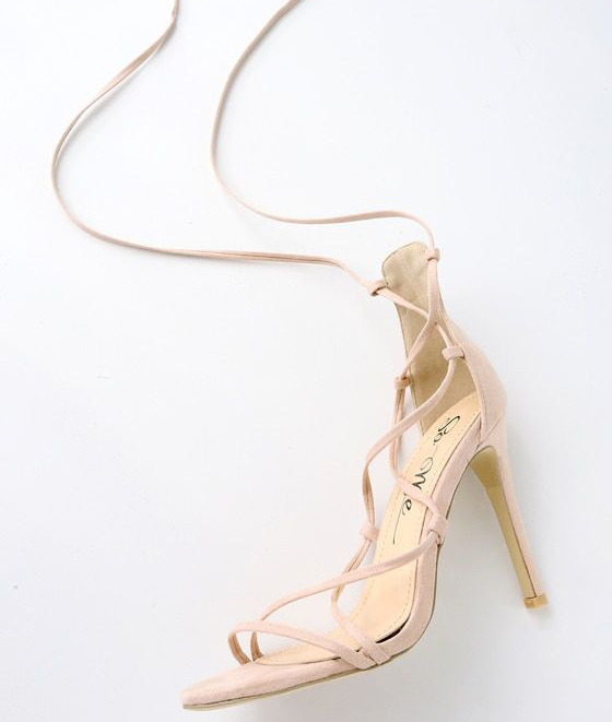 Colina Nude Suede Lace-Up Heels