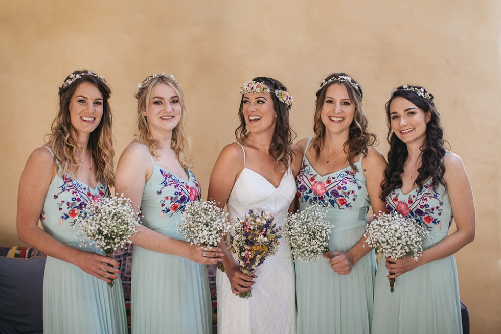 Blue Dani Vegan Wedding With Bridesmaids