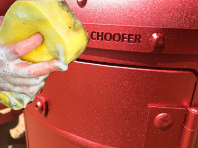 Cleaning Your Choofer with a cloth or soft pad and warm soapy water