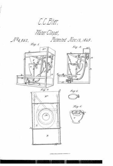 Chas. C. Bier Patent Portable Water-Closet diagram