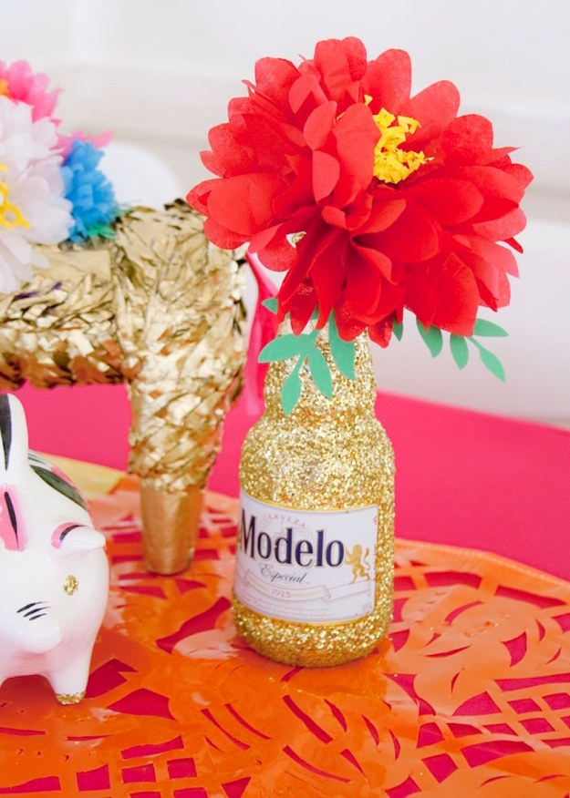 Glittered Modelo beer bottlel, tocas and tequila themed party