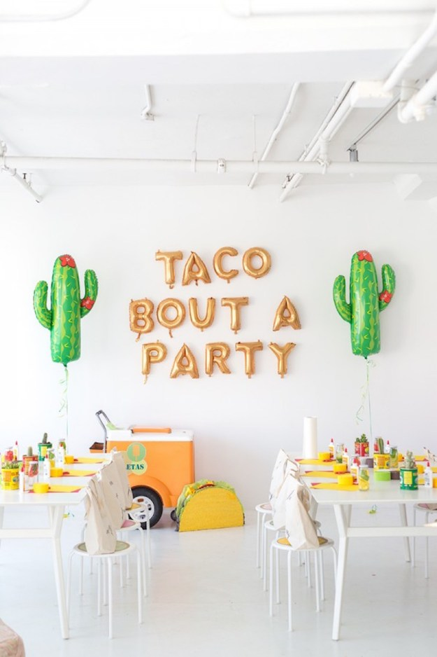 Taco bout a party sign, tacos and tequila themed party