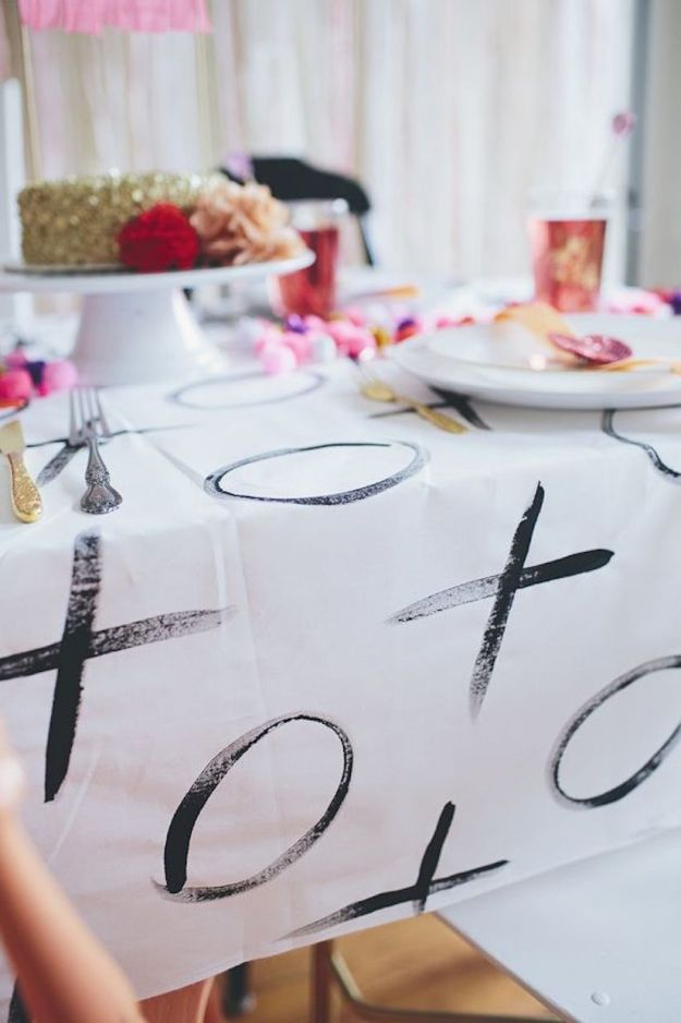 xo tablecloth DIY idea